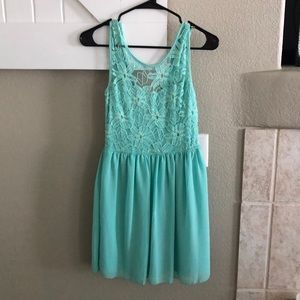 Teal Lace Mini Dress